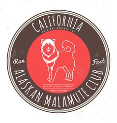 Alaskan malamute club california tee graphic vector