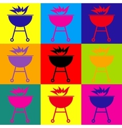 Barbecue with fire icon vector image vector image