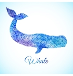 Blue watercolor whale vector