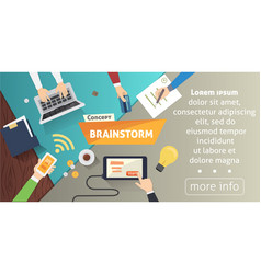 brainstorming creative team concept in flat style vector image vector image