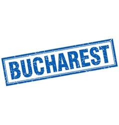 Bucharest blue square grunge stamp on white vector