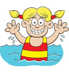 Cartoon girl swimming vector image vector image