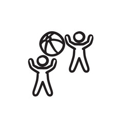 Children playing with inflatable ball sketch icon vector