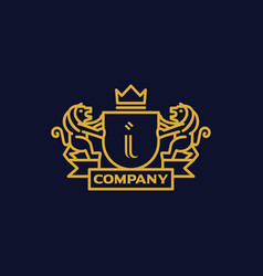 Coat of arms letter i company vector
