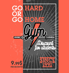 Color vintage gym banner vector