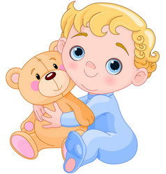 creeping baby amp teddy bear vector image vector image