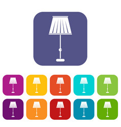 Floor lamp icons set flat vector
