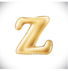 golden letter z made of inflatable balloon vector image