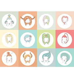 Horoscope signs with girls vector