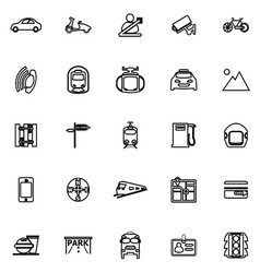 Land transport related line icons on white vector