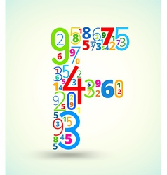Letter f colored font from numbers vector