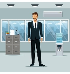 Man standing workplace office cabinet document vector