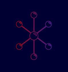Molecule sign line icon with vector