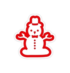 Paper sticker on white background snowman in hat vector