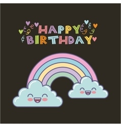 Rainbow birthday card vector