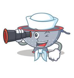 Sailor with binocular colander utensil character vector