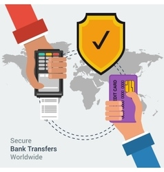 Secure bank transfers worldwide vector image