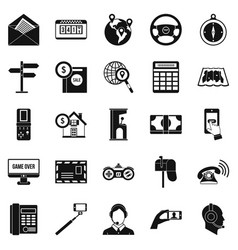 service phone icons set simple style vector image vector image