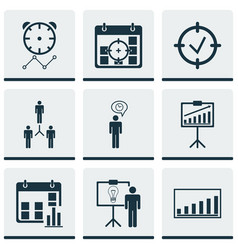 Set of 9 management icons includes reminder vector