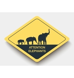 Sign attention elephants and shadow vector