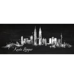 Silhouette chalk Kuala Lumpur vector image