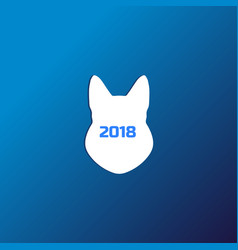silhouette of a dog on blue background vector image vector image