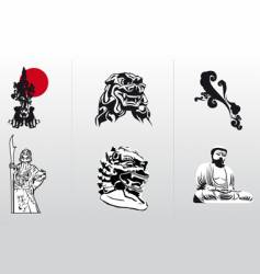 silhouettes of Asia vector image