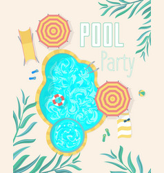 Summer pool party invitation posters card vector