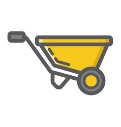wheelbarrow filled outline icon build and repair vector image