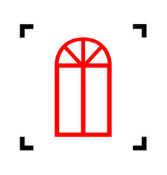 window simple sign red icon inside black vector image