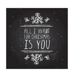 Winter greeting card with text on chalkboard vector