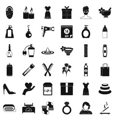 Woman icons set simple style vector