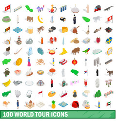 100 world tour icons set isometric 3d style vector image vector image