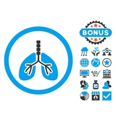 Breathe System Flat Icon with Bonus vector image