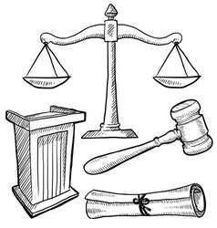 Doodle justice law podium gavel scales vector
