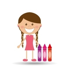 Cheerful girl study crayons design vector