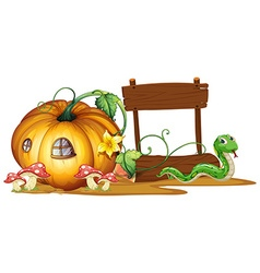 Wooden sign with pumpkin and snake in background vector image