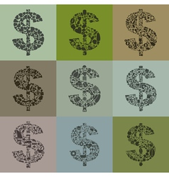Set of dollars2 vector image