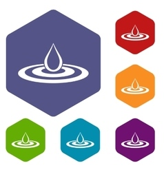 Water drop and spill icons set vector