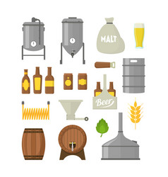 Cartoon beer brewing color icons set vector