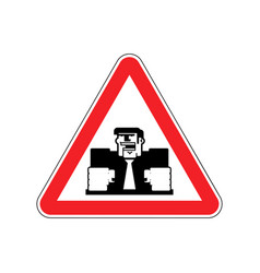 Attention angry boss chief to red triangle office vector