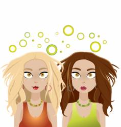 Dazed and dizzy girls vector