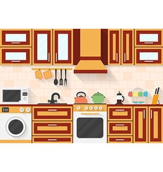 Kitchen with appliances and utensils flat style vector