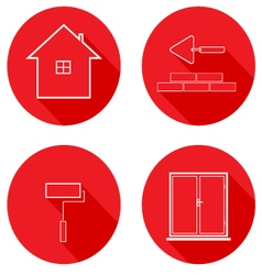 Flat icons line housing construction vector