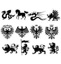 vector heraldic animals set 2 vector image