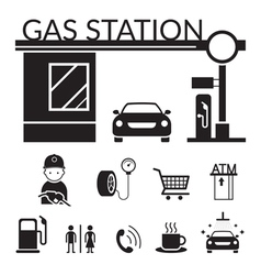 Gas station and service objects icons set vector