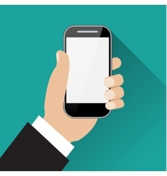 Hand holding black touch phone vector image