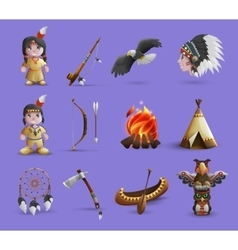 Native american cartoon icons vector