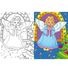Coloring book of christmas angel vector