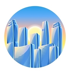 City skyscrapers background in blue colors vector